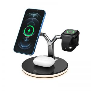 3 in 1 Wireless Charging Station with Night Light Compatible with MagSafe iPhone 12 AirPods Apple Watch iWatch