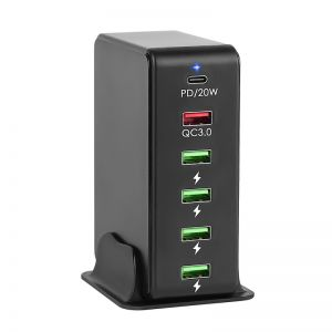 65W 6-Port Fast Travel Charger Adapter with PD and QC3.0 for iPhone MacBook iPad Android