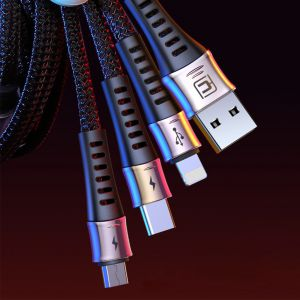 Cafele3-1 USB Charging Cable Type-C Lightning Micro USB Cable for 3A Fast Charging - 130cm