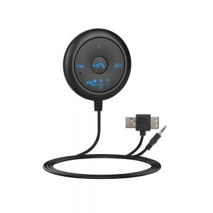 Car FM Bluetooth5.0 Transmitter MP3 Player 2-in-1 Wireless Receiver with AUX USB Adapter