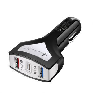 Dual USB Car Charger QC 3.0 Fast Charger with USB-C PD Outlet Socket