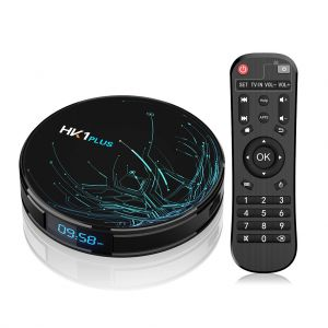 HK1 Plus Android 9.0 TV Box with Time Display