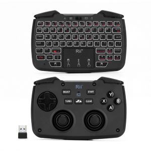 Rii RK707 2.4GHz Wireless Game Controller Keyboard Mouse Combo with Touchpad